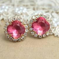 Pink Rose Crystal stud Petite vintage earring - 14k 1 micron Thick plated gold post earrings real swarovski rhinestones .