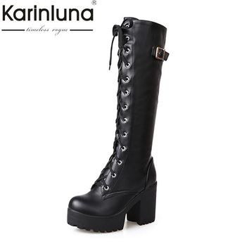 KarinLuna plus size 34-43 Sexy square high heel Knee High Boots Women Lace Up Thick Pl