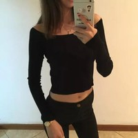 Black Plain Crop Round Neck Long Sleeve Pullover Sweater