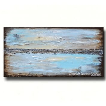 GICLEE PRINT Art Abstract Painting Blue Modern Canvas Prints Urban Aqua Brown White Sizes to 60""