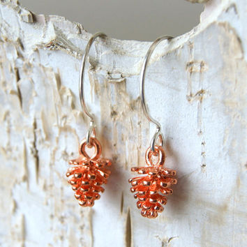 Rose Gold Pine Cone Earrings - Rose Gold Pinecone Earrings - Pine Cone Earrings - Pinecone Earrings - Woodland Fashion - Autumn Fashion
