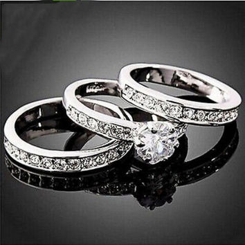 3pcs set Lady's 18k white gold Filled Shining CZ Engagement Wedding Ring CZ Sz 5 6 7 8 9 #404 = 1932655428