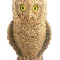 Rare Large Vintage Haeger Pottery Owl Statue, Unique Finish Texture,Sandpaper Lava, Home Decor, Vintage Retro Halloween, Mystery Wisdom