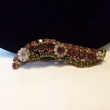 Austria Couture Amber Green Glass Rhinestone Vintage Crystal Flower Bar Brooch Pin 1950's