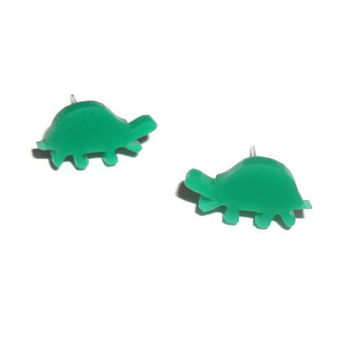 Turtle Earrings, Dainty Cute Green Stud Earrings, Tortoise, Kawaii Jewelry