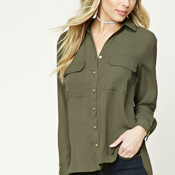 Button Down High-Low Top