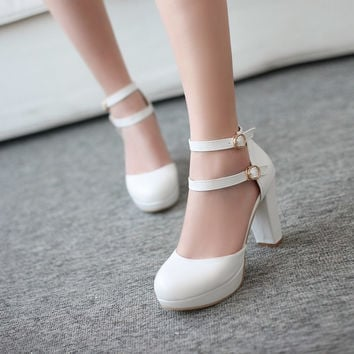 Duo Ankle Straps Platform Pumps High Heels 8857