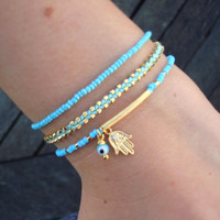Evil Eye Beaded  Hamsa Bracelet   Friendship Bracelet by cocolocca