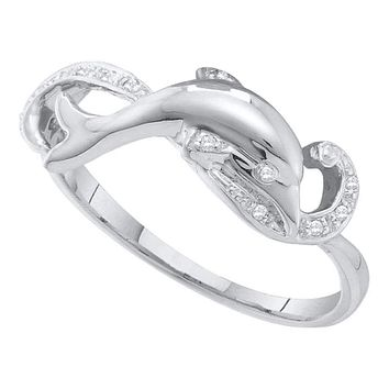 10kt White Gold Women's Round Diamond Dolphin Ring 1/20 Cttw - FREE Shipping (US/CAN)