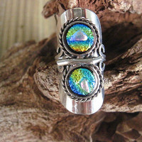 Fused Dichroic Glass Ring or Scarf Slide by glassygirls777 on Etsy