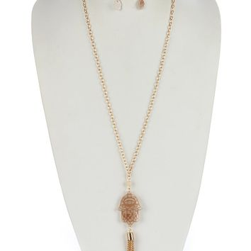 Peach Turtoise Lucite Stone Chain Tassel Necklace And Earring Set