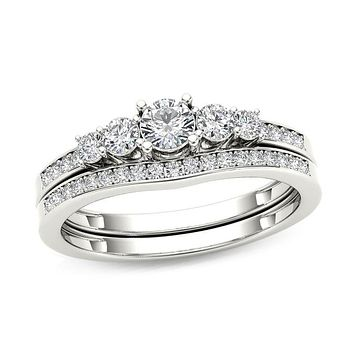 1/2 CT. T.W. Diamond Five Stone Bridal Engagement Ring Set in 14K White Gold