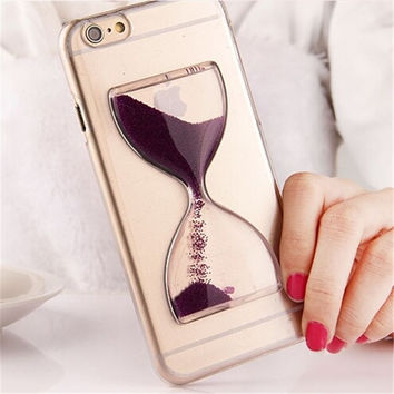 For iPhone 6 6S Plus 5 5S SE Case Hourglass Cover 3D Cute Glass Clear Case Dynamic Flowing Sand Quicksand Coque For iPhone 6 6S