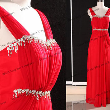 Elegant Red Straps Bust and Waist with Jewels Embellishment Column Floor-length Evening Gown,Formal Dress,Senior Prom Dress