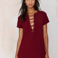 Runnin' with the Devil Lace Up Dress - Burgundy