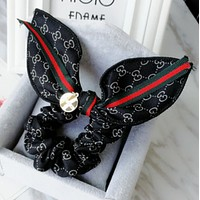 GUCCI simple rabbit ears hair rope fabric red and green bow hair headband hair accessories Mysterious black
