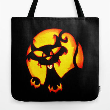 Trick or Treat Bag, Halloween Tote Bag, Scary Cat, Halloween Cat Jack O' Lantern, Happy Halloween, Halloween Tote Bag, Black & Orange