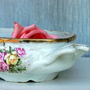 vintage handled  bowl  /  porcelain  /  victorian era  /  dresser dish  /  french austrian english