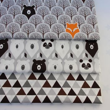 100% cotton fabrics cartoon grey trees fox bear panda black brown tri angle for DIY kids tent bedding apparel decoration crafts