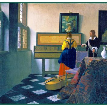 The Music Lesson by Johannes Vermeer Counted Cross Stitch or Counted Needlepoint Pattern