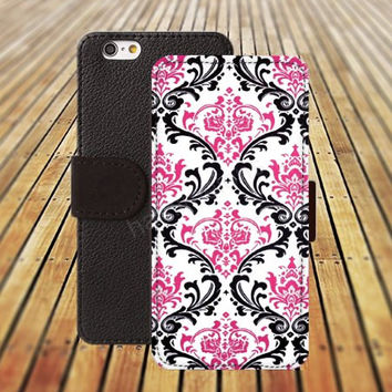 iphone 5 5s case hot pink flowers iphone 4/4s iPhone 6 6 Plus iphone 5C Wallet Case,iPhone 5 Case,Cover,Cases colorful pattern L435