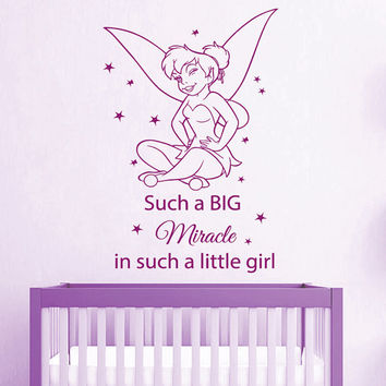 Wall Decal Quote Such a Big Miracle in Such a Little Girl Vinyl Stickers Mural Baby Fairy Girl Bedroom Interior Design Nursery Decor KI11