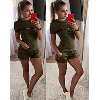 GUCCI Fashion Women Personality Short Sleeve Top Shorts Set Two-Piece