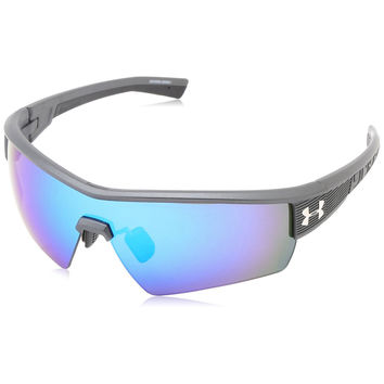 Under Armour UA Fire Satin Carbon Grey Frame Blue Mirror Multiflection Lens Sport Sunglasses