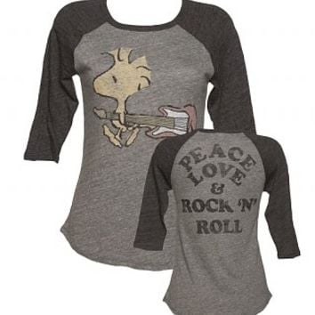 Ladies Grey Triblend Peanuts Woodstock Peace Love And Rock N Roll Baseball T-Shirt From Junk Food : TruffleShuffle.com
