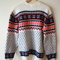 Fair Isle Sweater White Bright Red Navy Blue Mens Large, Oversized Womens