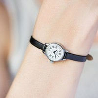 Unused Women Watch Roman numerals, Micro Wristwatch Seagull, Vintage Women Watch Tiny, Lady Watch Black White, New Premium Leather Strap