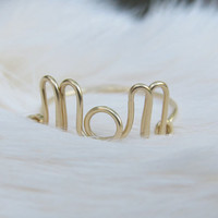 14K Gold Mom Ring, Wire Mom Ring, Gold Wire Ring, Dainty Ring, Wire Word Ring, Bridal Party Jewelry, Simple Ring, Mother's day gift
