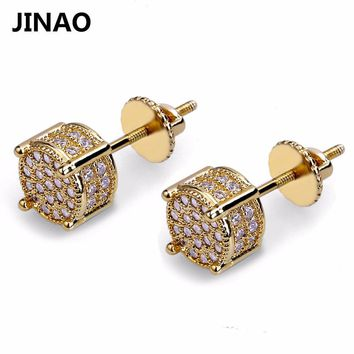 JINAO Gold Color Plated Iced Out Micro Pave Lab Cubic Zircon Stud Earrings With Screw Back Hip Hop Men And Jewelry Gifts