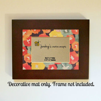 3x5 Photo Mat fits 5x7 Frame Watercolor Flowers