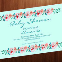 Popular Baby shower invitation, boho invitation, floral invitation, printable, shower, social media, facebook, 4x6 personalized invitation,