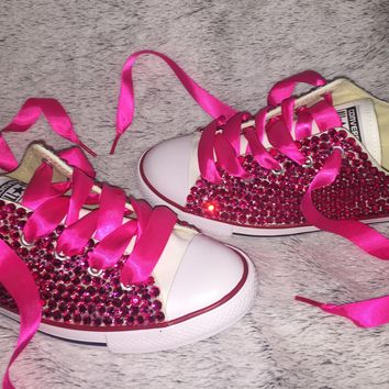 """Dainty All Star Converse """"Pretty In pink"""" With Fuchsia Pink Crystals"""