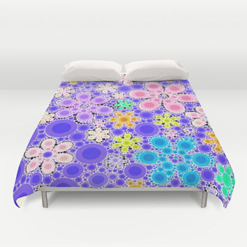 Funny Bubble Flowers Duvet Cover by MehrFarbeimLeben