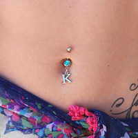 Initial Belly Button Ring - Personalized Jewelry - Belly Ring - Belly Button Ring -  Dangle Belly Ring - Belly Button Piercing - Navel Ring
