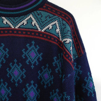 Vintage Geometric Sweater, Knit Sweater, Pullover, Mens Sweater, Womens Sweater, Oversized, 90s Sweater, Acrylic, Teal, Purple, Native, L/XL