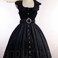 Classic Gothic Lolita Corduroy Backless Dress