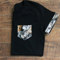 Black Wolf T-Shirt Pocket & Sleeves
