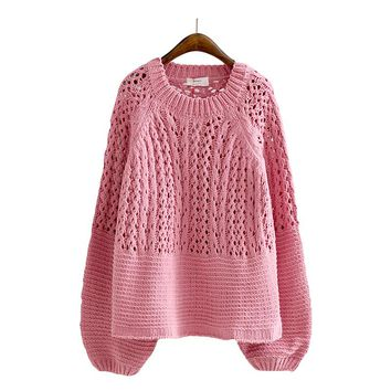 Round Neck Hollow Out Puff Sleeve Pullover Sweater Fashion  Clothing Sweet Knitwear Jumper