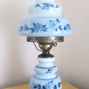 Vintage blue floral hurricane lamp - blue milkglass up and down parlor lamp table lamp - Excellent condition