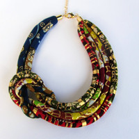 Afrocentric necklace/ Asymmetric necklace/  Ankara fabric set/ side knot necklace