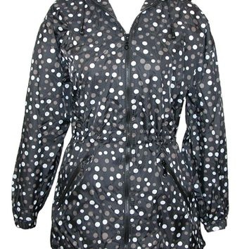 ShedRain Packable Fashion Anorak Rain Jacket Polka Dots