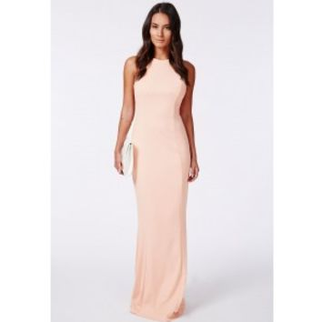 Missguided - Kaisa Nude High Neck Maxi Dress