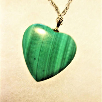 Malachite Heart Necklace Green Gemstone Speidel Sterling Silver Vintage Jewelry Gift for Her