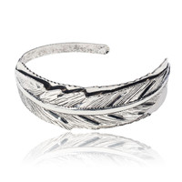 LE3NO Womens Wide Open Metallic Feather Bangle Cuff