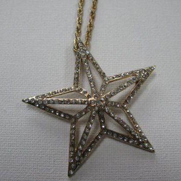 Gold Plated Vintage Star Necklace - Solar System Jewelry - Star Necklace - Star Pendant - Statement Necklace - Christmas Necklace