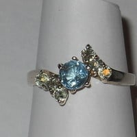 Round Blue Tourmaline Sterling Silver Ring Size 7 Green Sapphire acct New